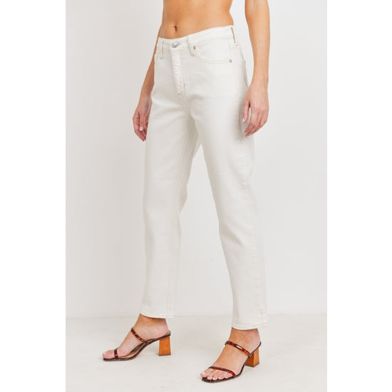 High Rise Off White Straight Jeans