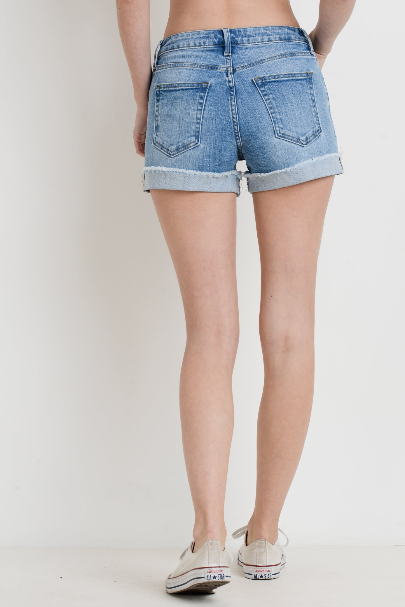 Denim Shorts with Cuffed Hem