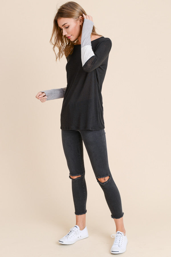 Black Color Block Sleeve Sweater Top