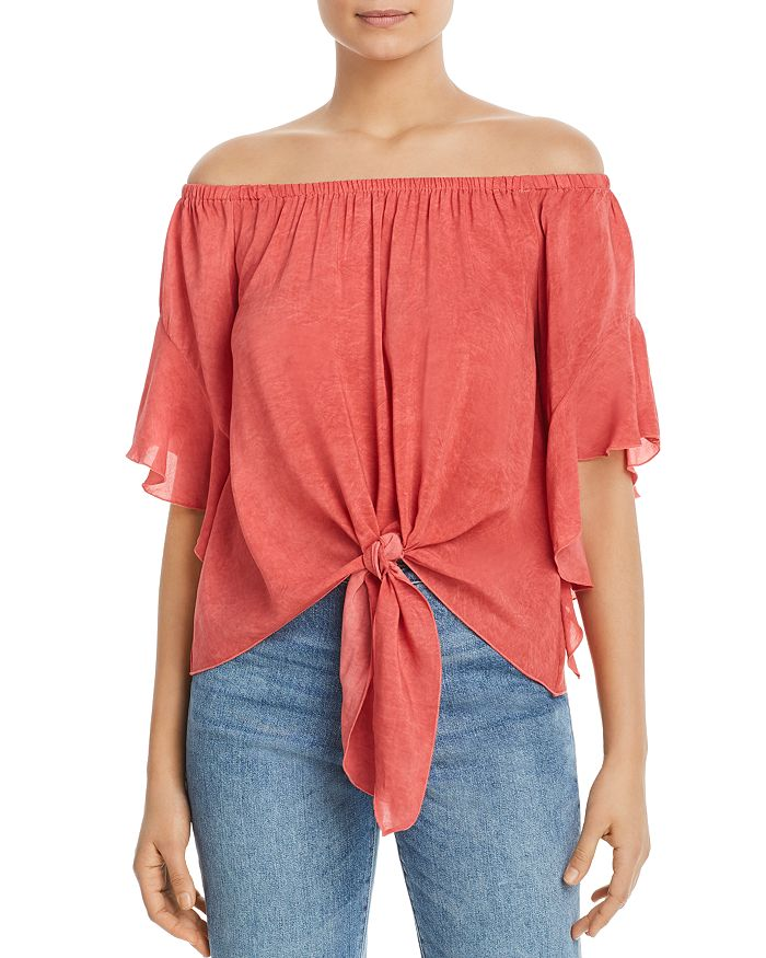 Washed Coral Off the Shoulder Top with Front Tie
