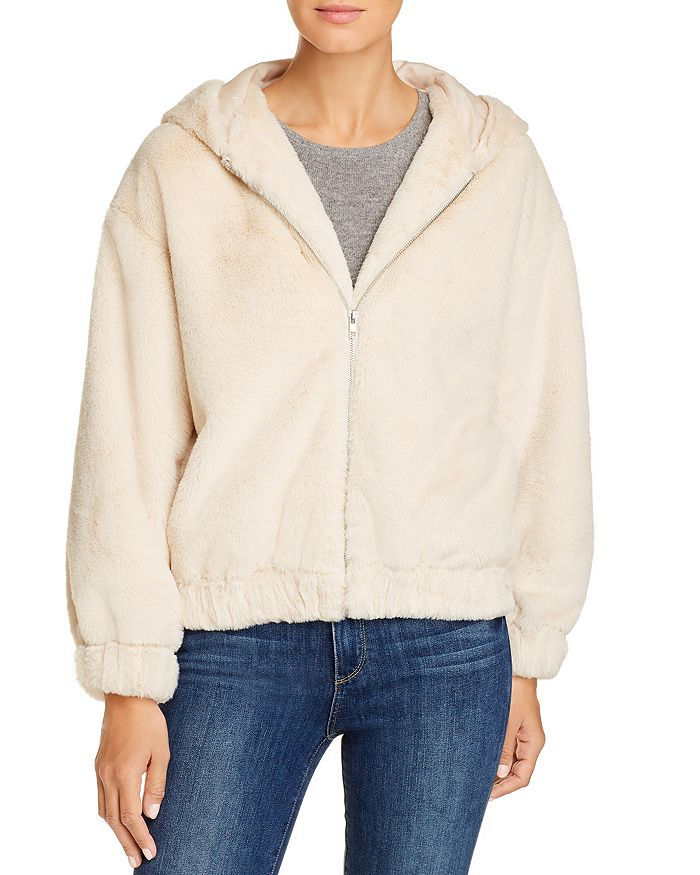 Ivory Faux Fur Zip Up Hoodie Jacket