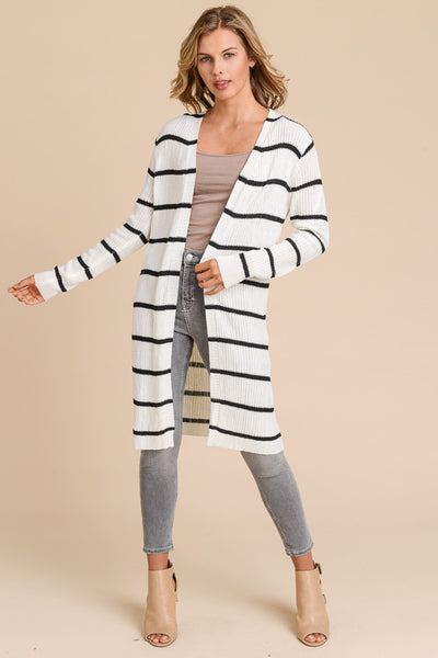 White with Black Stripe Long Cardigan Sweater