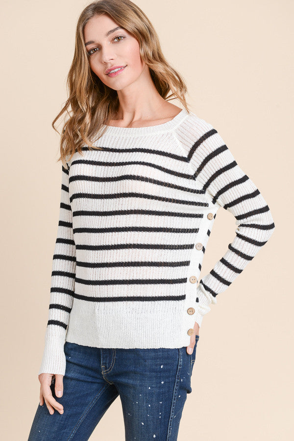 Cream and Black Stripe Sweater with Side Buttons