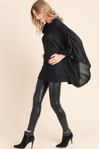 Black Striped Poncho