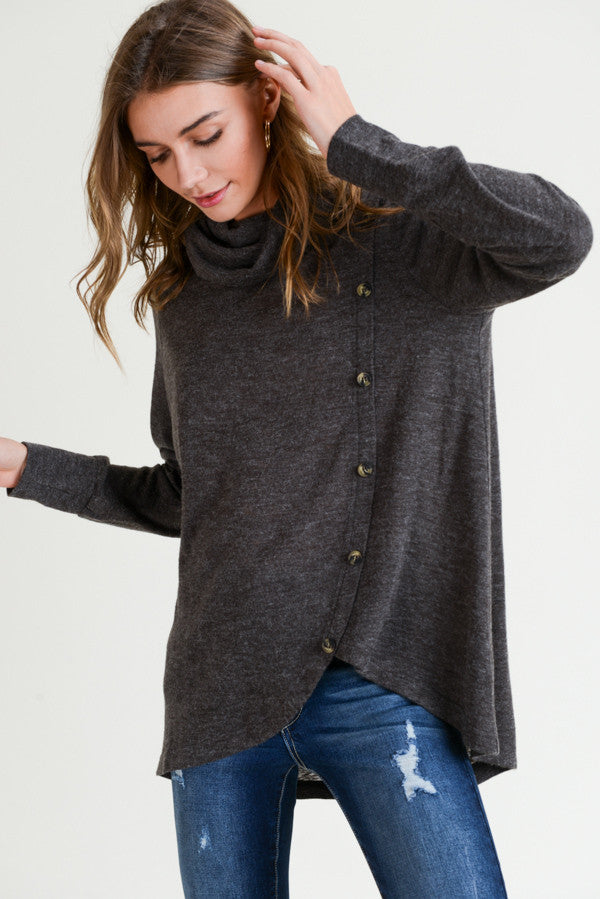 Heather Brown Cowl Neck Pullover Top with Button Details