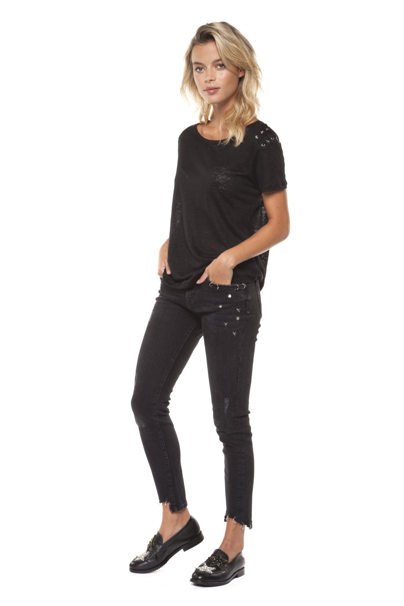 Black Short Sleeve Lace Up Top