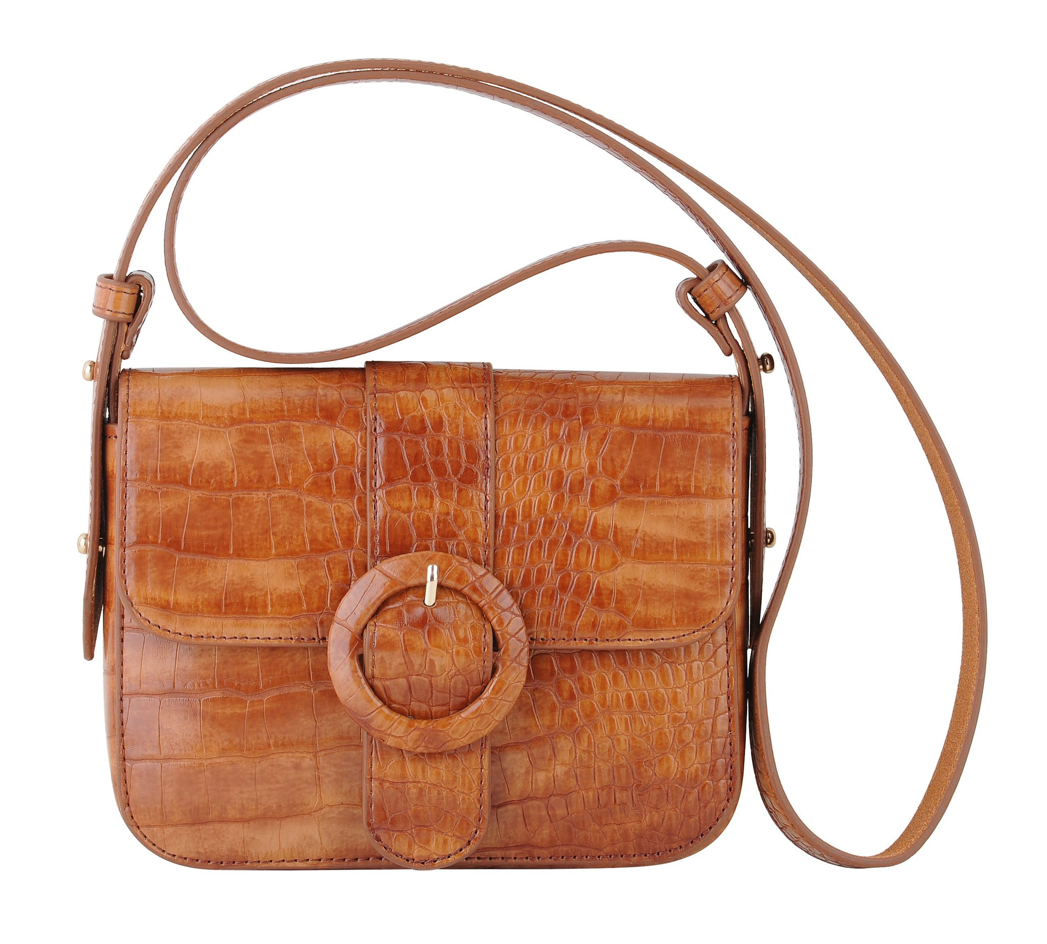 Croc Skin Crossbody with Circle Buckle