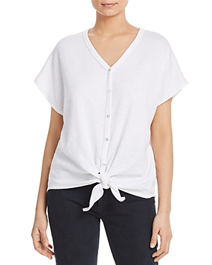 White Short Sleeve Button Up Tie Front Top