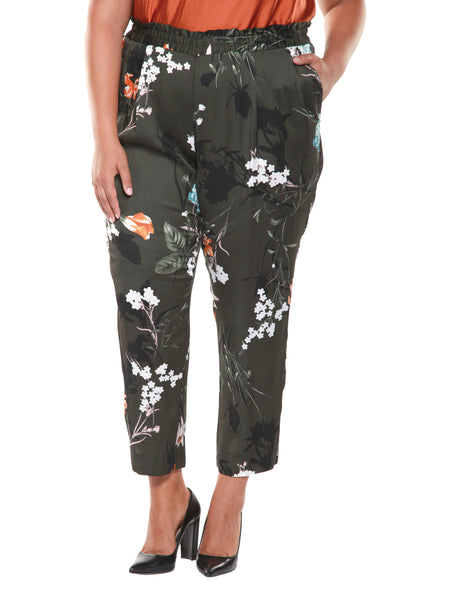 Plus Size Olive Green Floral Printed Pull On Pants