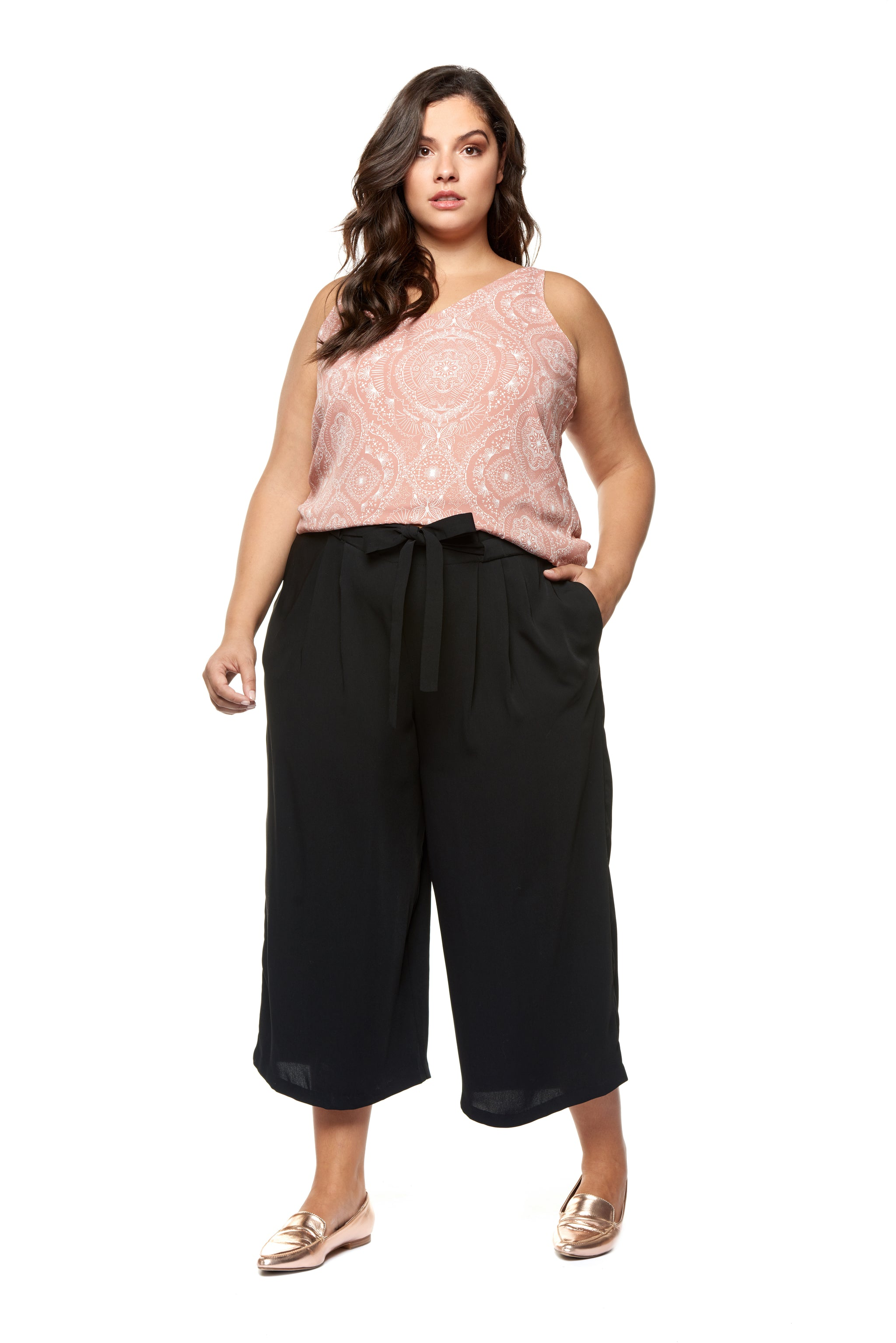 Plus Size Black Pleated Culottes