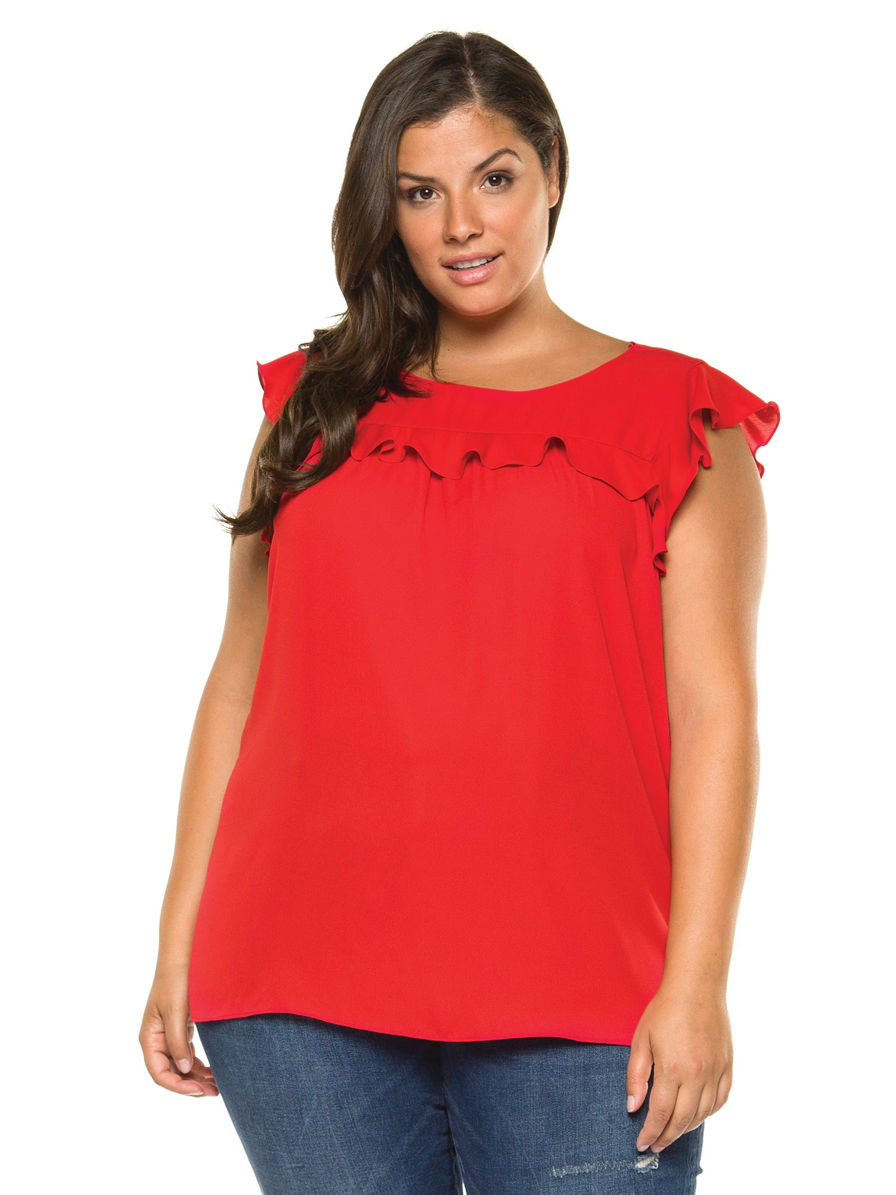 Plus Size Ruffled Cap Sleeve Red Blouse