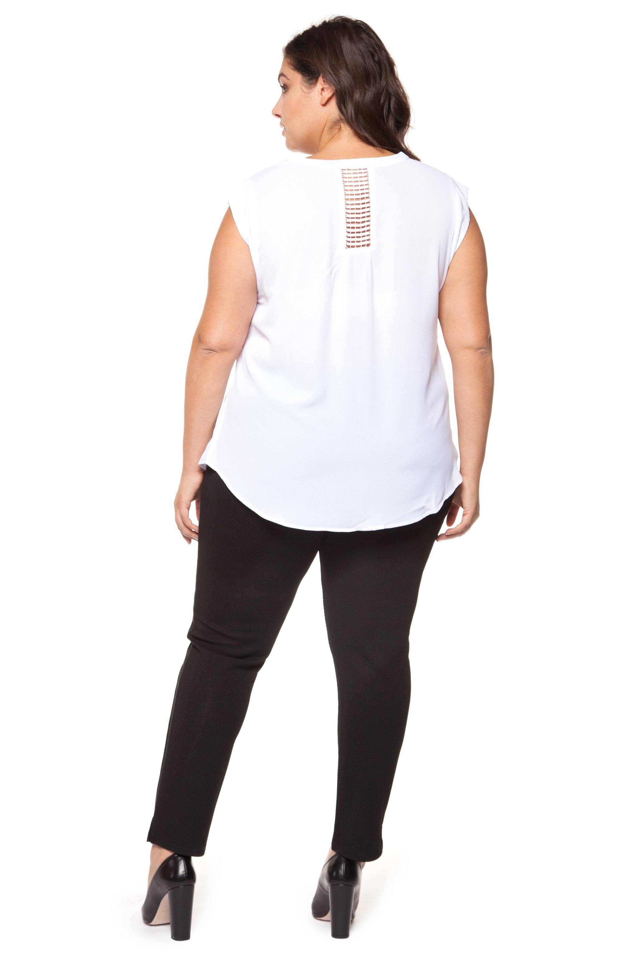 Plus Size White Cap Sleeve Top