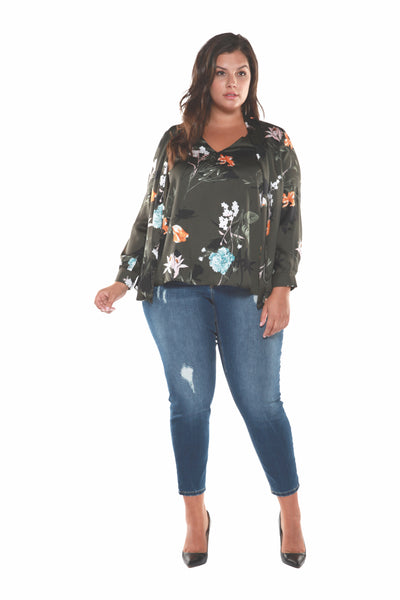 Plus Size Olive Green Floral Printed Cardigan