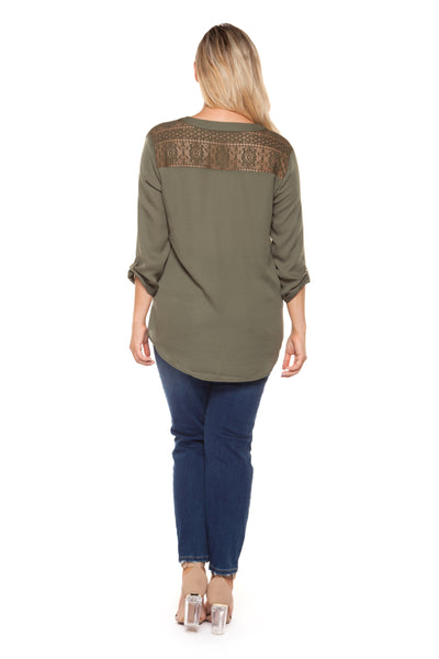 Plus Size Olive Green Three Quarter Sleeve V-Neck Top