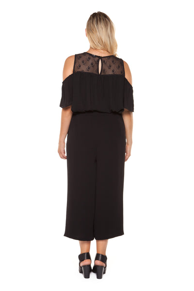 Plus Size Black Cold Shoulder Lace Top