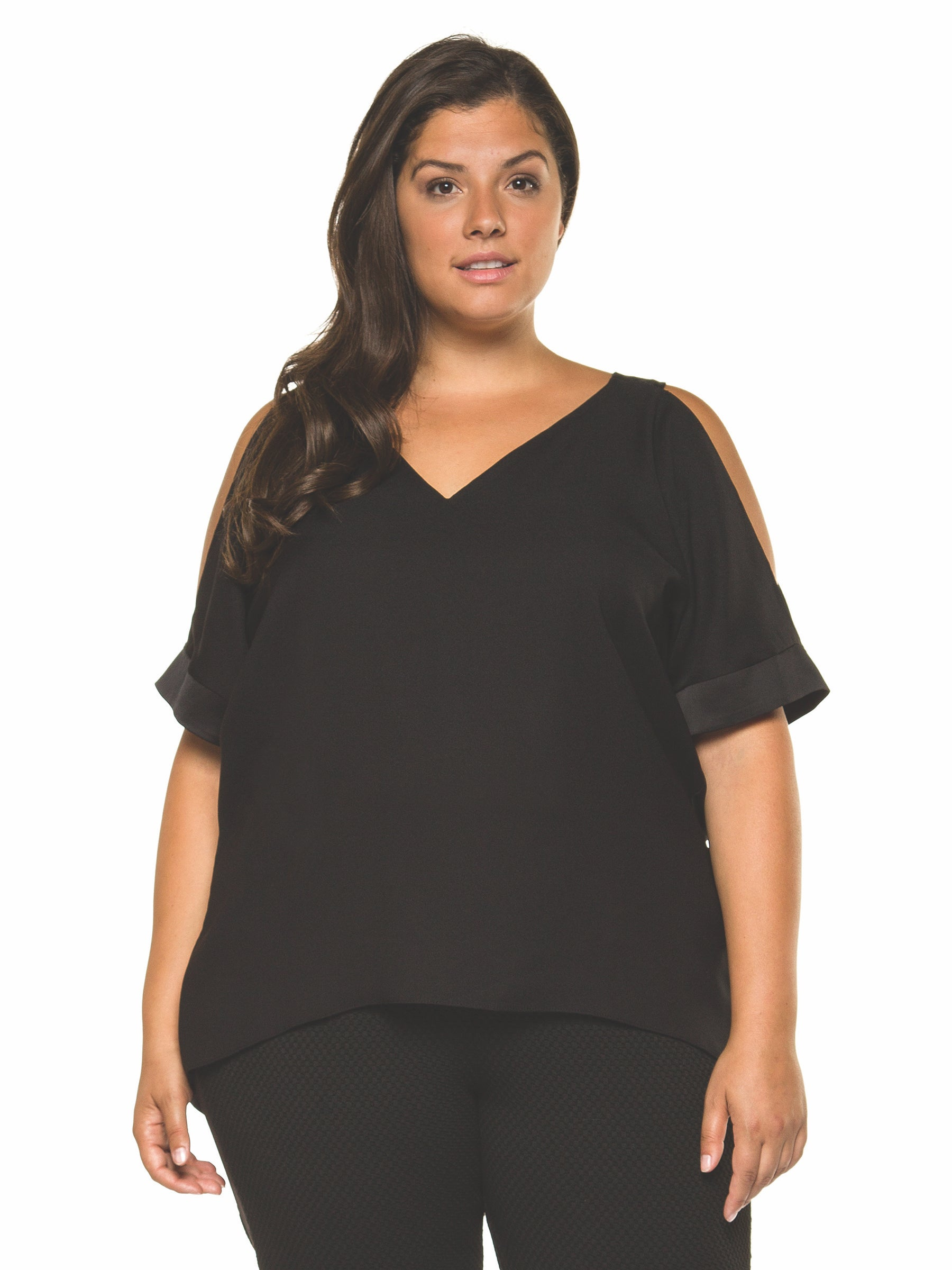 Plus Size Black Cold Shoulder V-Neck Top