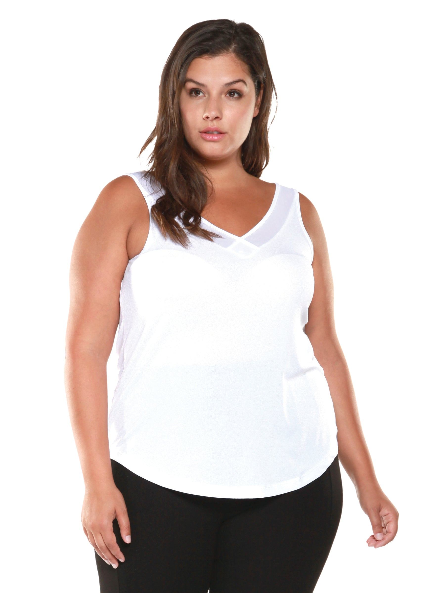 Plus Size White Sleeveless V-Neck Top
