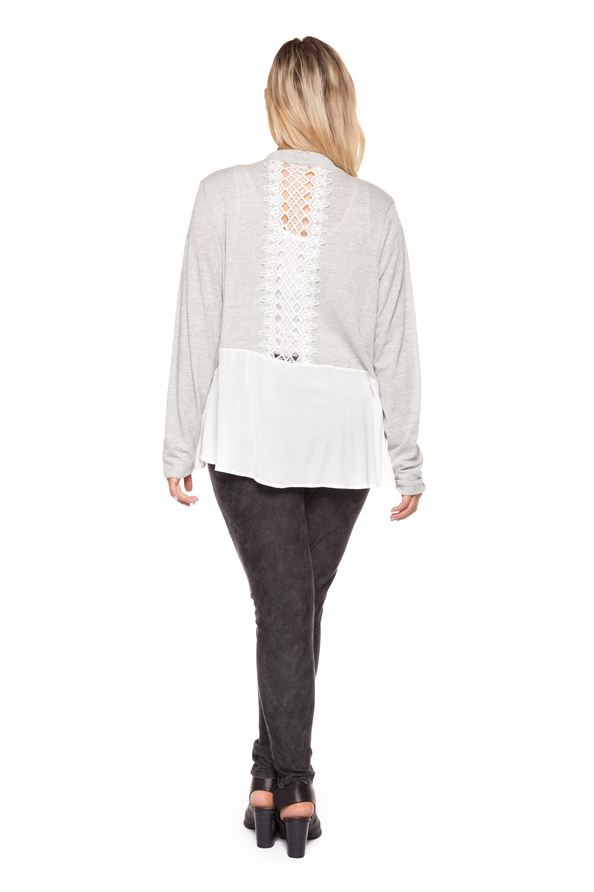 Plus Size Long Sleeve Grey and Ivory Cardigan