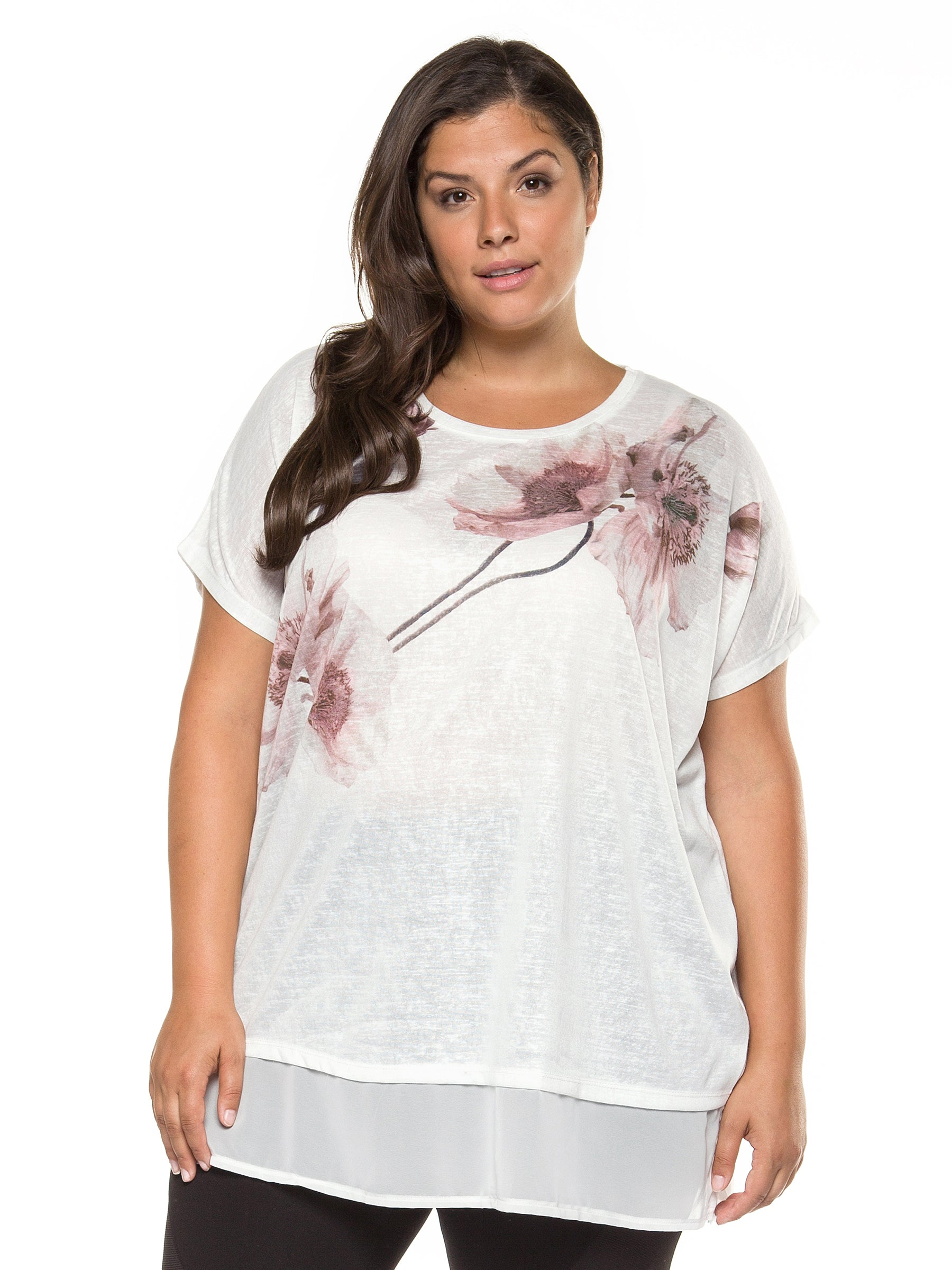 Plus Size Short Sleeve Ivory Floral Top