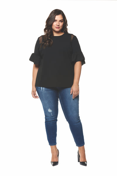 Plus Size Black Ruffle Short Sleeve Top