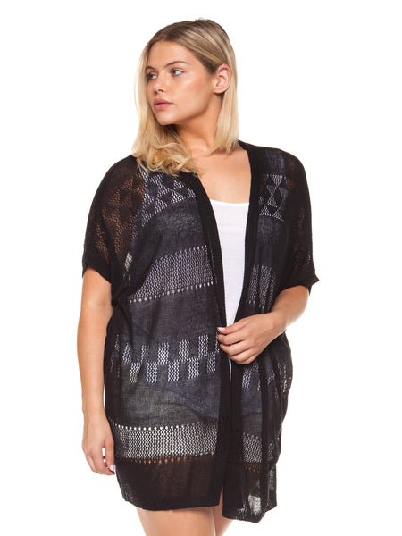 Plus Size Black Short Sleeve Cut Out Cardigan