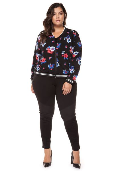 Plus Size Black Floral Printed Bomber Jacket