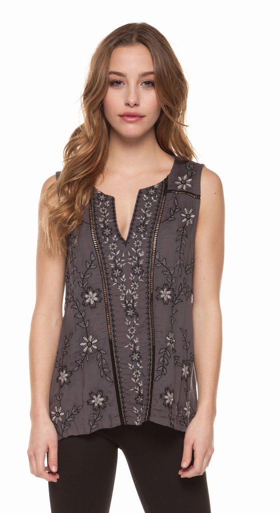 Charcoal Sleeveless Embroidered Top