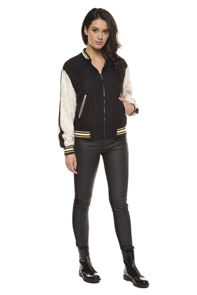 Black and Cream Lace Bomber Jacket