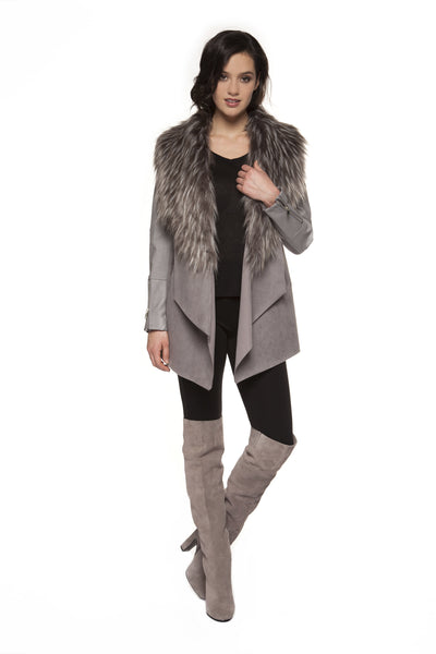 Grey Faux Suede Jacket with Faux Fur Collar