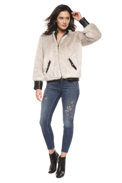 Soft Grey Faux Fur Bomber Jacket