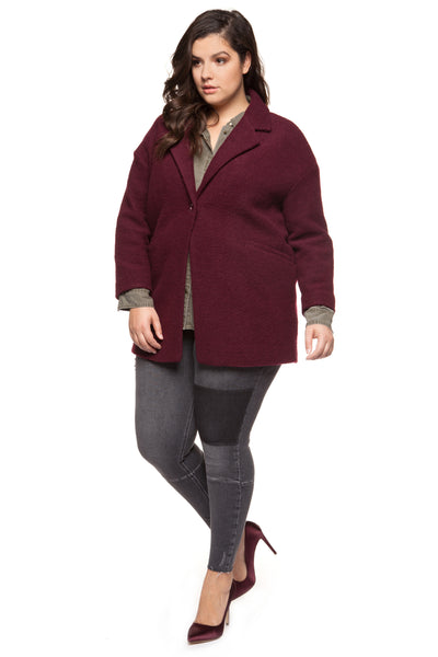 Plus Size Burgundy Wide Collar Coat