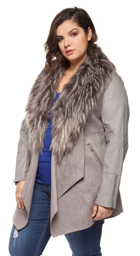 Plus Size Grey Faux Suede Jacket with Faux Fur Collar