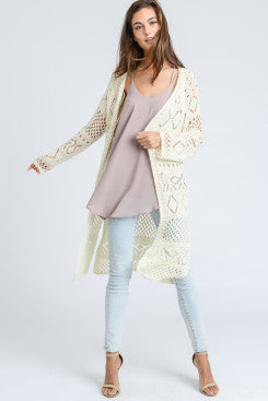 Long Cardigan with Cut Out Detailing