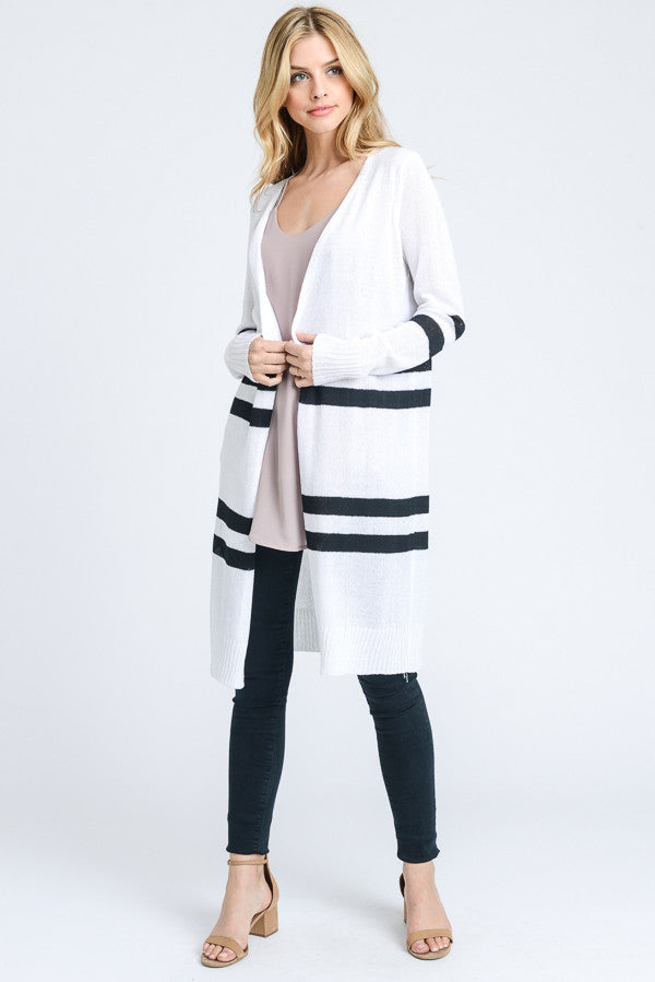 White Long Cardigan with Black Stripes