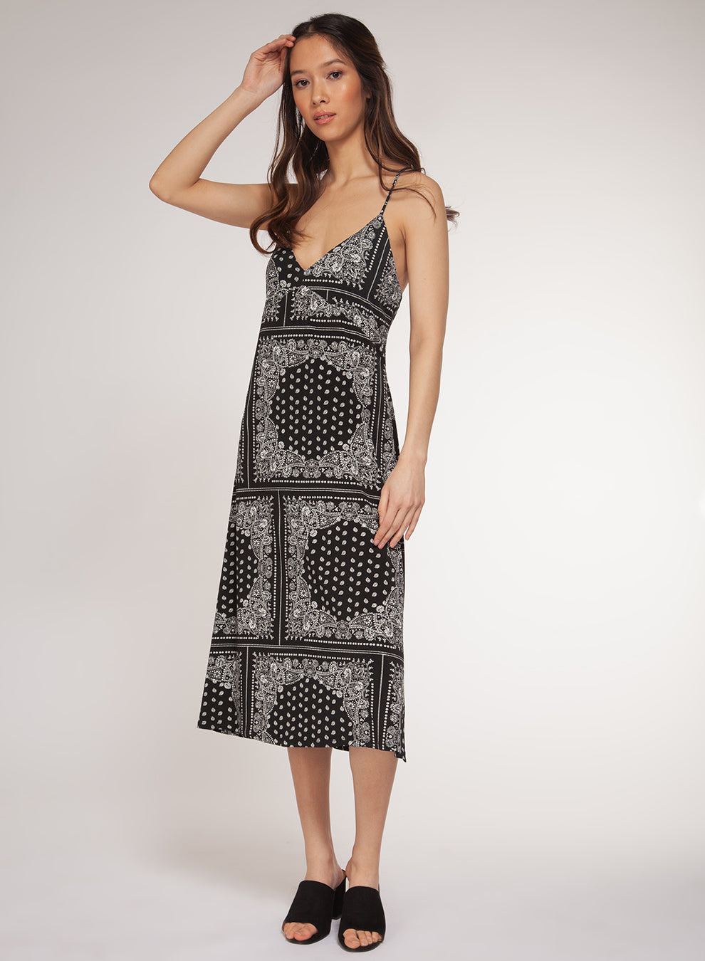 Black/White Paisley Spaghetti Strap Midi Dress
