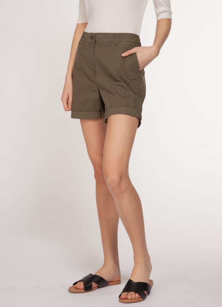 Olive Green Mid Rise Cuffed Chino Shorts