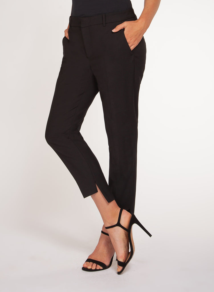 Black Hi-Lo Split Hem Work Pants