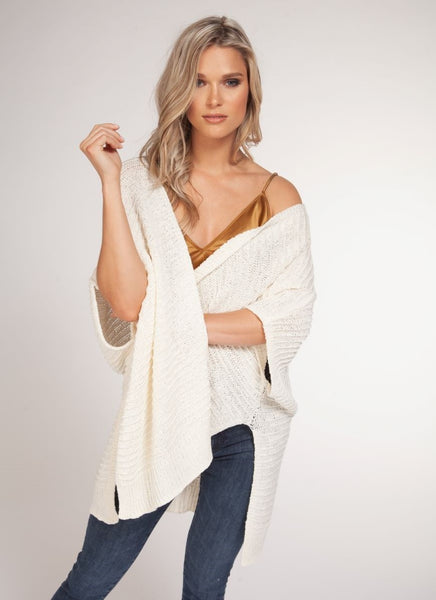 Short Sleeve Ivory Cardigan