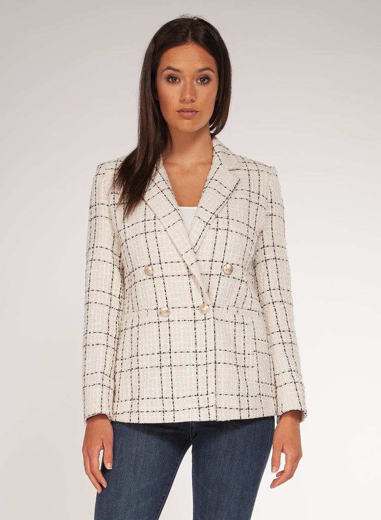 Ivory and Black Check Double Breasted Jacket