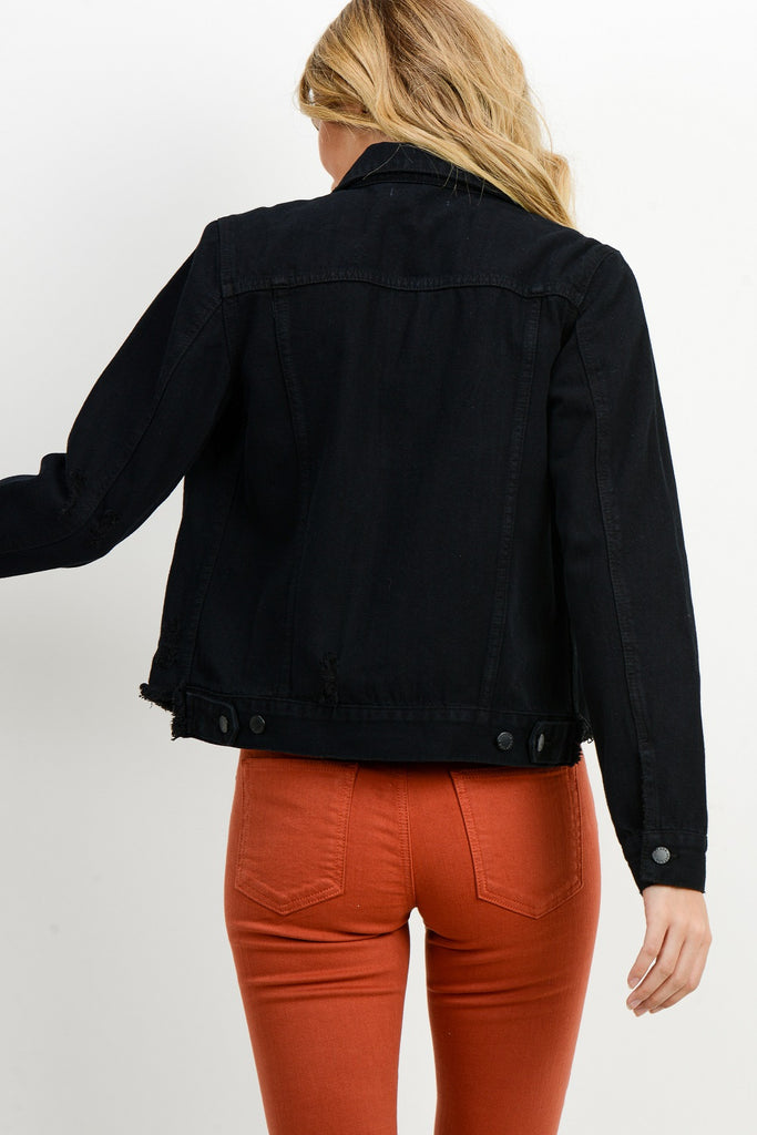 Black Cut Off Waist Denim Jacket
