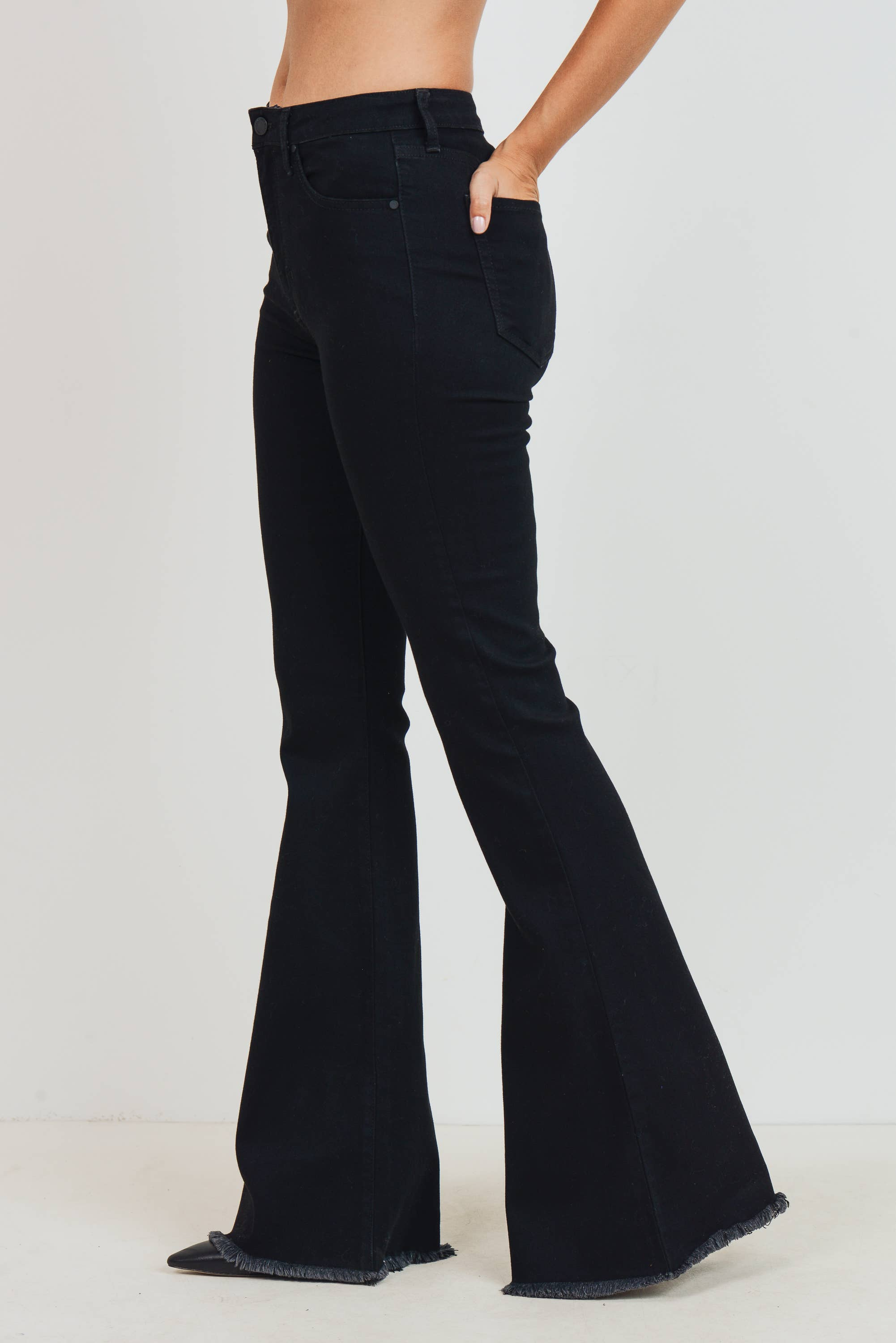 Black High Rise Classic Bell Bottom