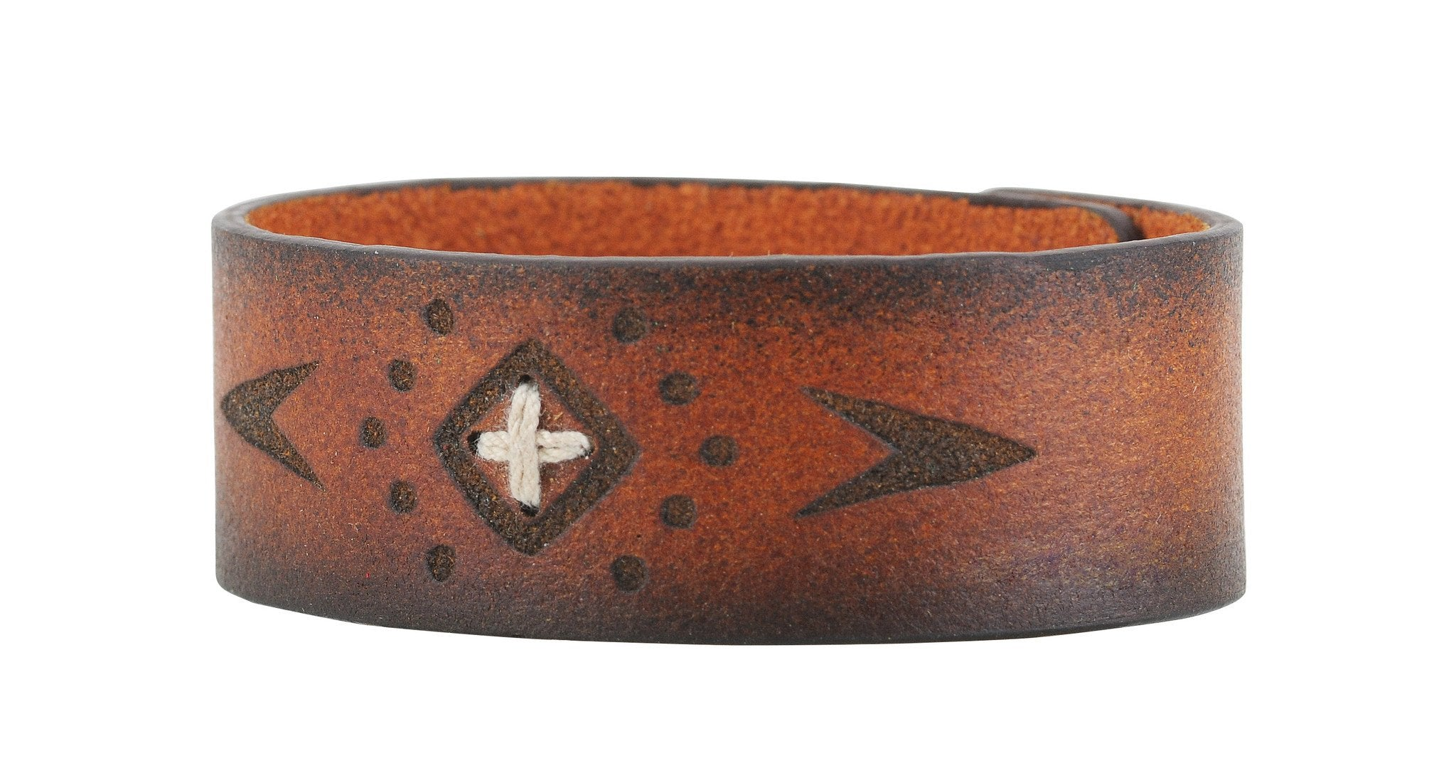 Brown Leather Boho Stitched Cuff