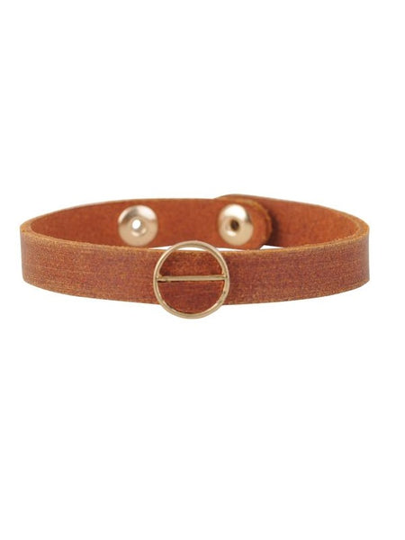 Leather Bracelet with Gold Accent