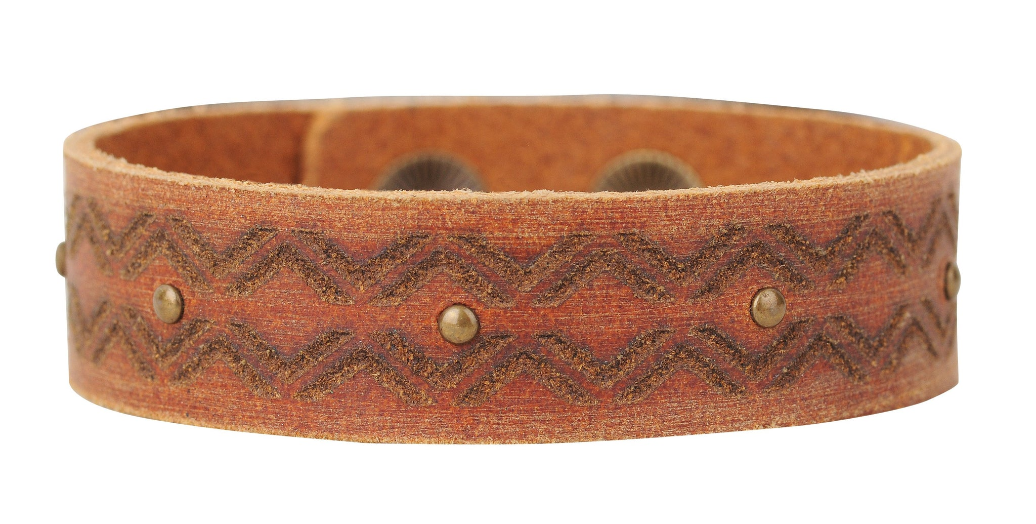 Tan Leather Cuff with Laser Tooling Design