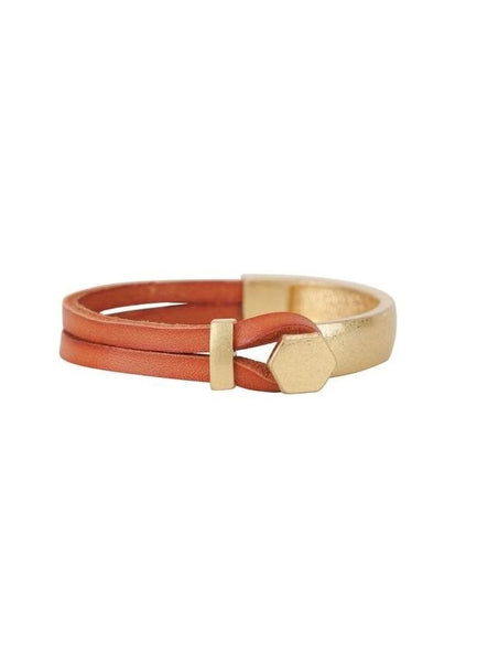 Polygon Clasp Leather Bracelet