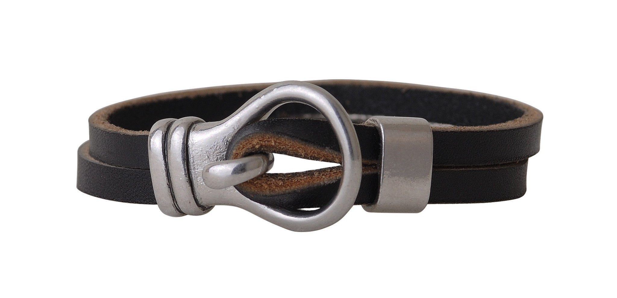 Leather Bracelet with Hook and Loop Closure