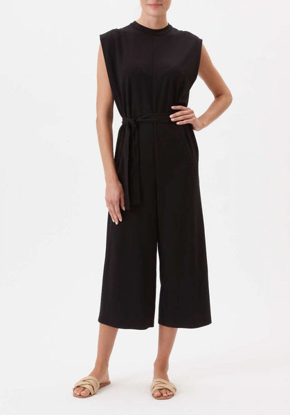 """The Carolyne"" Black Wide Leg Belted Jumpsuit"