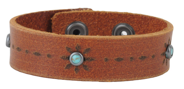 Tan Leather Turquoise Studded Cuff