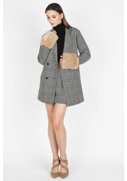 Black and Tan Plaid Jacket with Faux Fur Detachable Cuffs