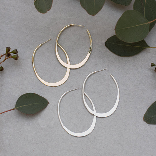 Prime Gold Oval Flat Hoops